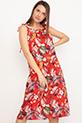 Desenli İp Askılı Elbise / Kırmızı
