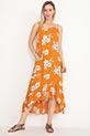 Desenli Fırfırlı Elbise / Hardal