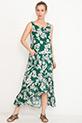 Desenli Fırfırlı Elbise / Yeşil