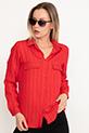 Yakalı Çizgili Gömlek / Kırmızı