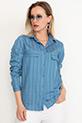 Yakalı Çizgili Gömlek / Mavi