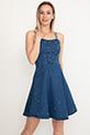 Boncuk Detaylı Kot Elbise / Lacivert