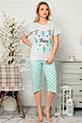Kapri Pijama Takımı / Gri-Mavi