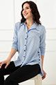 Puantiyeli Yan Düğmeli Gömlek / Mavi