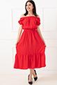 Omuzu Lastikli Elbise / Kırmızı