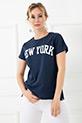 New York Baskılı T-Shirt / Lacivert