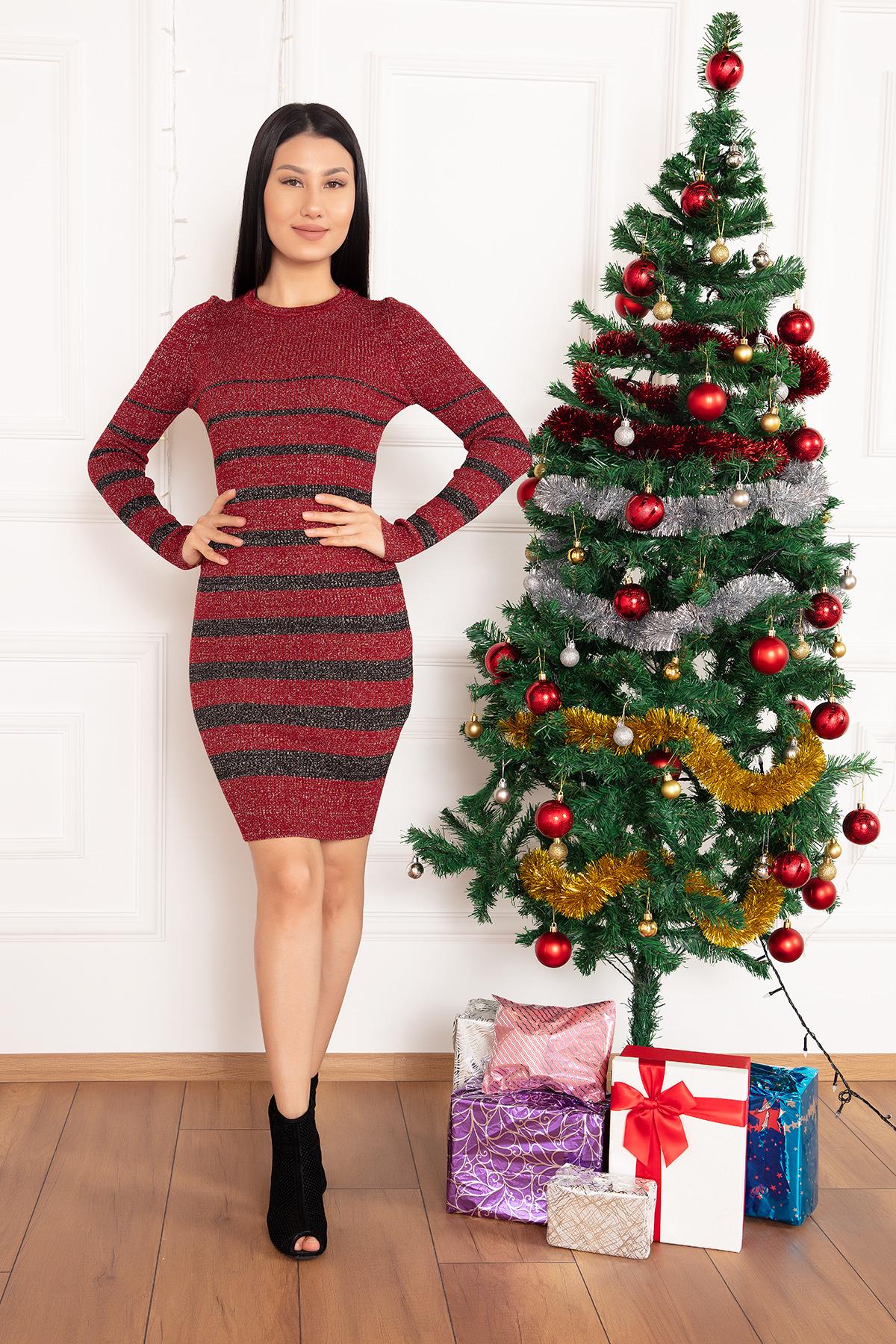 15199 Lily Çizgili Simli Triko Elbise-19K54006H09